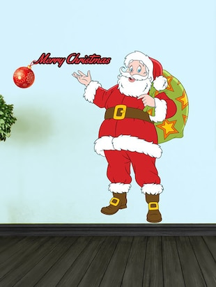Merry Christmas with Santa Wall Sticker - 15114237 - Standard Image - 1