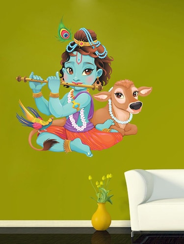 Lord Krishna flute playing with cow Wall Sticker - 15114240 - Standard Image - 1