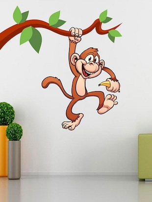 Hangging Monkey with Banana Wall Sticker - 15114263 - Standard Image - 1