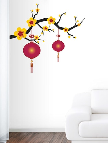 Blooming Flowers with lantern Wall Sticker - 15114361 - Standard Image - 1