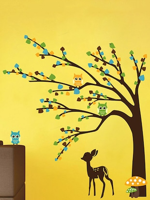brown tree cute animals Wall Sticker - 15114364 - Standard Image - 1