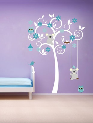 cute tree with flower and animals Wall Sticker - 15114435 - Standard Image - 1
