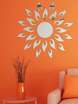 Sun With Extra FlameSilver Acrylic Mirror Sticker - 15114455 - Standard Image - 1
