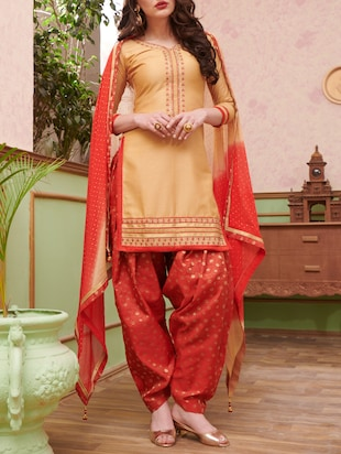 Embroidered unstitched salwar suit - 15114632 - Standard Image - 1