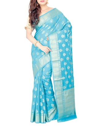 sky blue woven saree with blouse - 15114884 - Standard Image - 1