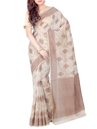 cream woven saree with blouse - 15114885 - Standard Image - 1