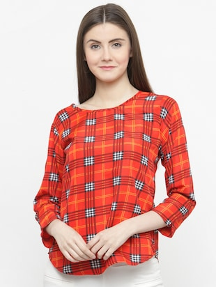 orange checkered crepe top - 15115068 - Standard Image - 1