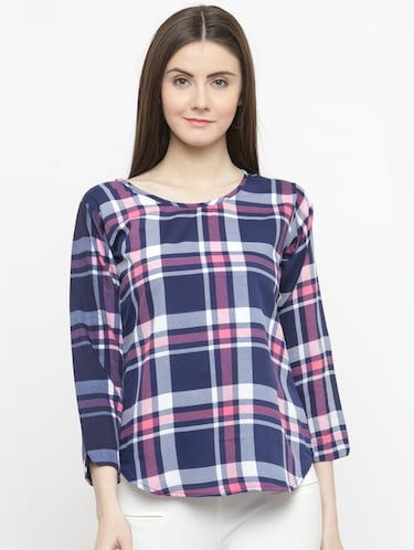 blue checkered crepe top - 15115069 - Standard Image - 1