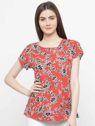 orange printed crepe top - 15115072 - Standard Image - 1