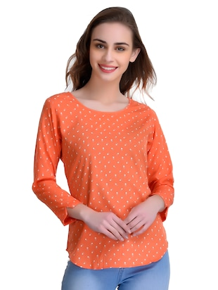 orange printed crepe top - 15115233 - Standard Image - 1