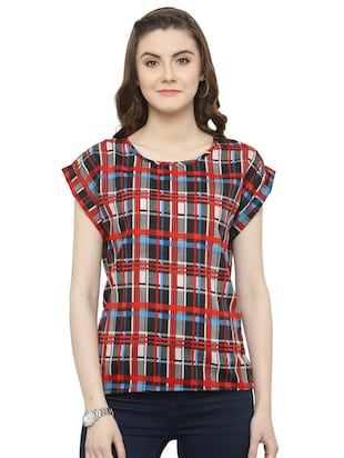 red checkered crepe top - 15115242 - Standard Image - 1
