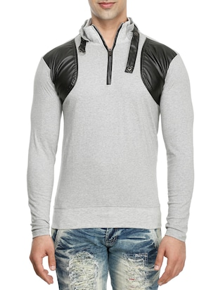 grey cotton collared t-shirt - 15115270 - Standard Image - 1