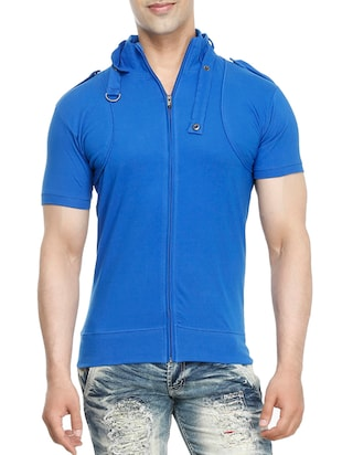 blue cotton  t-shirt - 15115304 - Standard Image - 1
