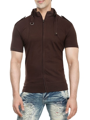 brown cotton t-shirt - 15115305 - Standard Image - 1