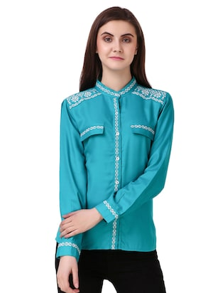 blue cotton embroidered shirt - 15115664 - Standard Image - 1