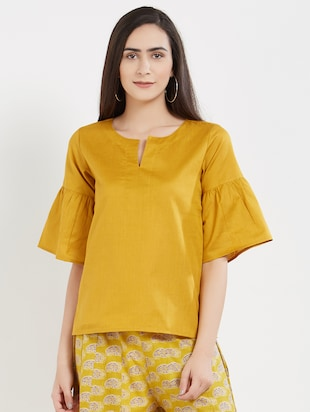 solid yellow cotton top - 15116255 - Standard Image - 1