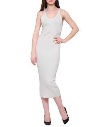 solid white viscose bodycon dress - 15116946 - Standard Image - 1