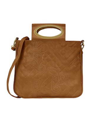 tan leatherette regular sling bag - 15116988 - Standard Image - 1
