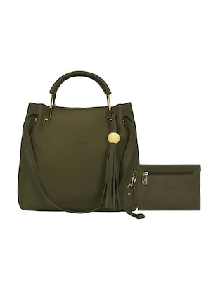 green leatherette  regular tote - 15117129 - Standard Image - 1