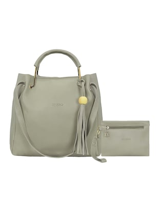 grey leatherette tote - 15117130 - Standard Image - 1