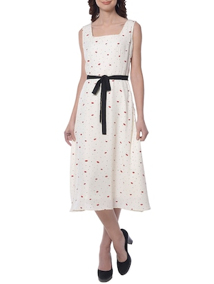 white printed belted dress - 15117143 - Standard Image - 1