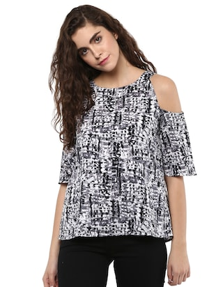 black crepe printed straight top - 15117160 - Standard Image - 1