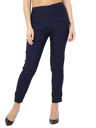 navy blue solid front trousers - 15117177 - Standard Image - 1