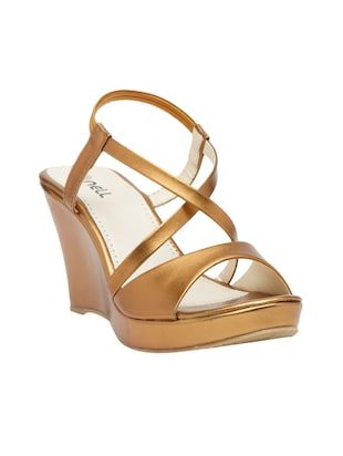 copper faux leather closed back wedges - 15117421 - Standard Image - 1