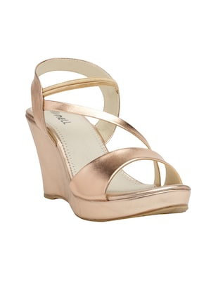 metallic faux leather closed back wedges - 15117423 - Standard Image - 1