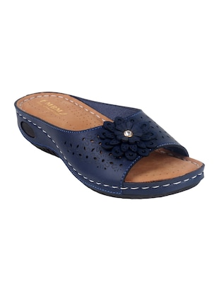 blue faux leather slippers - 15118170 - Standard Image - 1