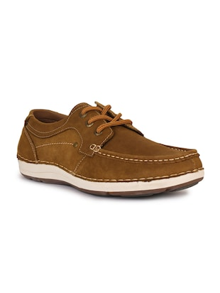 brown leatherette lace up sneaker - 15118291 - Standard Image - 1