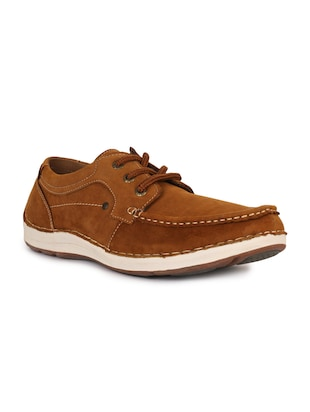 brown leatherette lace up sneaker - 15118292 - Standard Image - 1