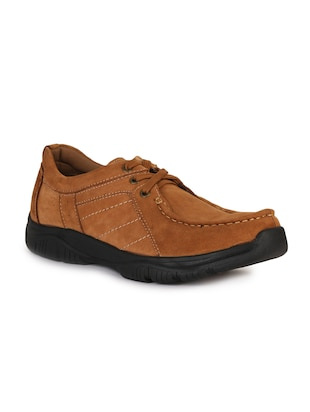 brown leatherette lace up sneaker - 15118293 - Standard Image - 1