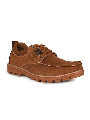 brown leatherette lace up sneaker - 15118295 - Standard Image - 1