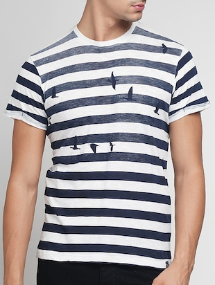 blue cotton striped t-shirt - 15118481 - Standard Image - 1