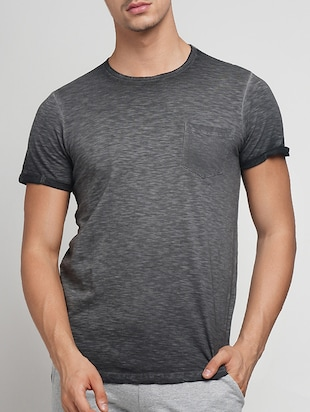 grey cotton washed tshirt - 15118485 - Standard Image - 1
