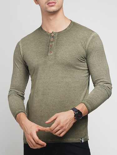olive green cotton washed t-shirt - 15118495 - Standard Image - 1