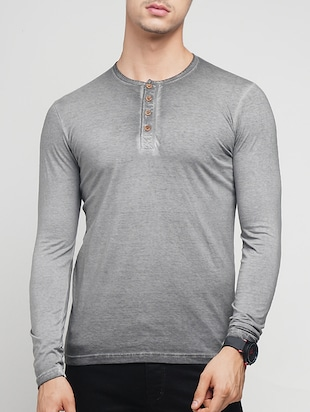 grey cotton washed t-shirt - 15118496 - Standard Image - 1