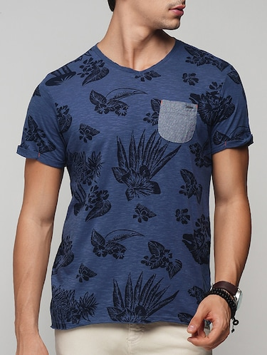 blue cotton all over print t-shirt - 15118504 - Standard Image - 1