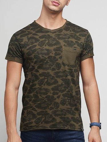 olive green cotton all over print t-shirt - 15118516 - Standard Image - 1
