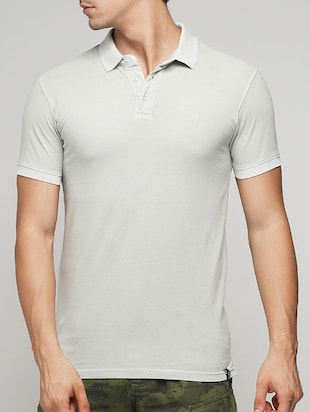 white cotton polo t-shirt - 15118521 - Standard Image - 1