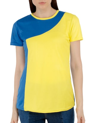 yellow color block tee - 15118557 - Standard Image - 1