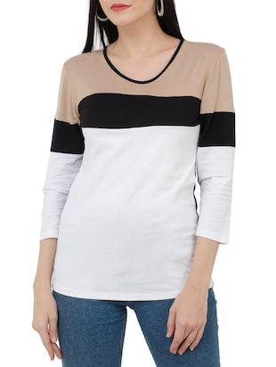 white color block viscose tee - 15118566 - Standard Image - 1