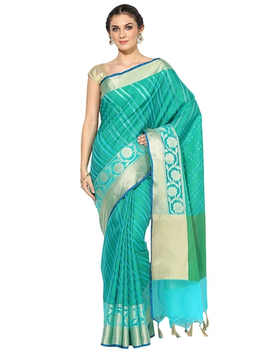 turquoise cotton silk woven saree with blouse - 15118905 - Standard Image - 1