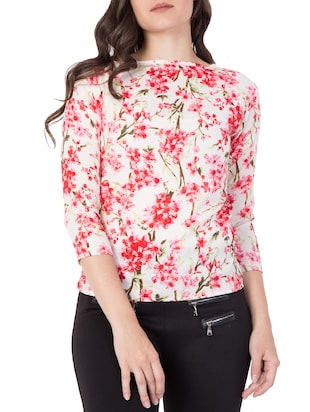 red floral printed top - 15119020 - Standard Image - 1