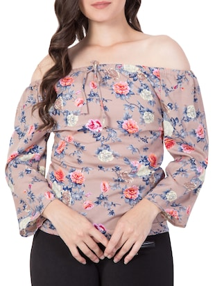 beige floral off-shoulder top - 15119027 - Standard Image - 1