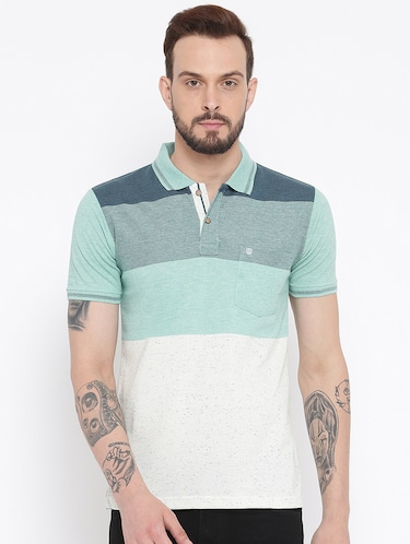 green cotton color block t-shirt - 15119058 - Standard Image - 1