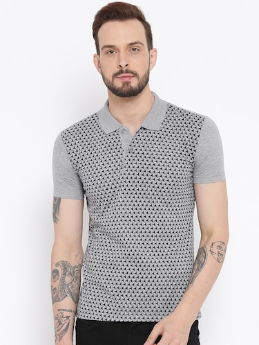 grey cotton front print t-shirt - 15119137 - Standard Image - 1