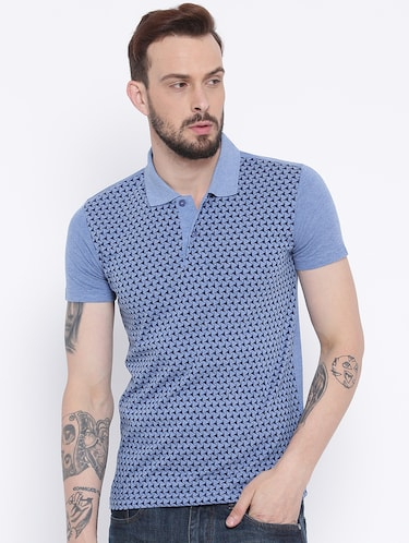 blue cotton front print t-shirt - 15119138 - Standard Image - 1