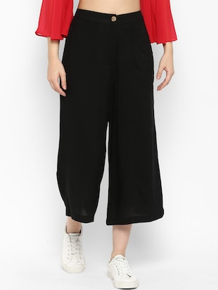 solid black rayon culottes - 15119313 - Standard Image - 1
